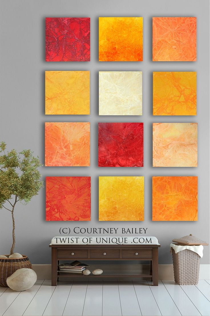 BOLD CUSTOM abstract Painting, 12 square Modern Abstract Wall Art, Large Abstract artwork, vivid sunset