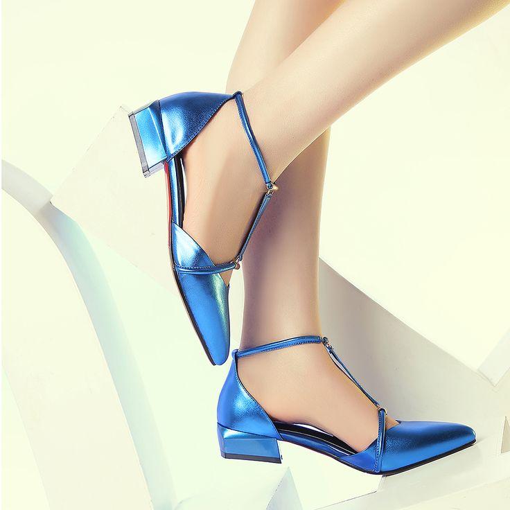 2016 donne di modo di estate sandali laidies vera pelle scarpe a punta T-strappy basso tacchi spessi sandali argento scarpe da donna F53-2(China (Mainland))