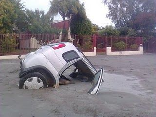 Roads were destroyed and instantly filled with liquefaction during the Christchurch 2011 earthquake