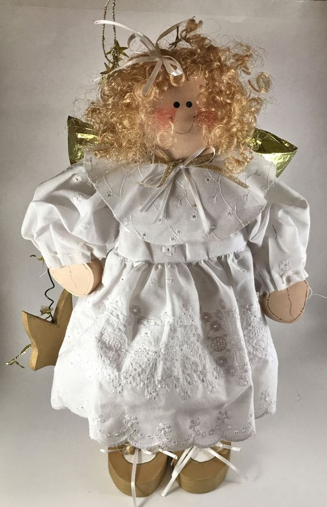 """Rustic Old Fashioned Vintage Blonde Wood Smiling Angel Christmas 16"""" Tall"""