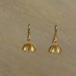 Pair of 'umbrella' jhumkis handcrafted in 18k yellow gold, and complete with Indian treatments