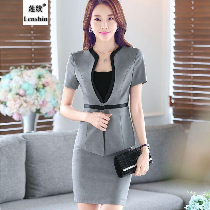 Female skirt suits career OL blazer and skirt women suits office coat Jackets plus size uniform sets 2016 Korean summer fashion