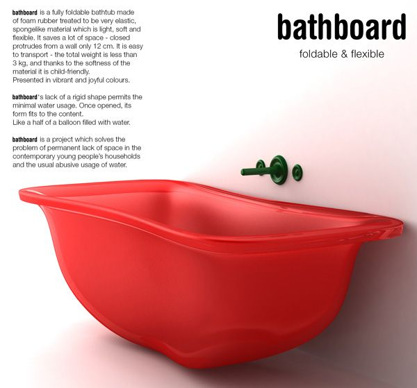 [Design] The Bathboard is a too-good-to-be-true design. It has all the makings of an excellent bathtub; one, which folds up and holds enough water for a good soak.