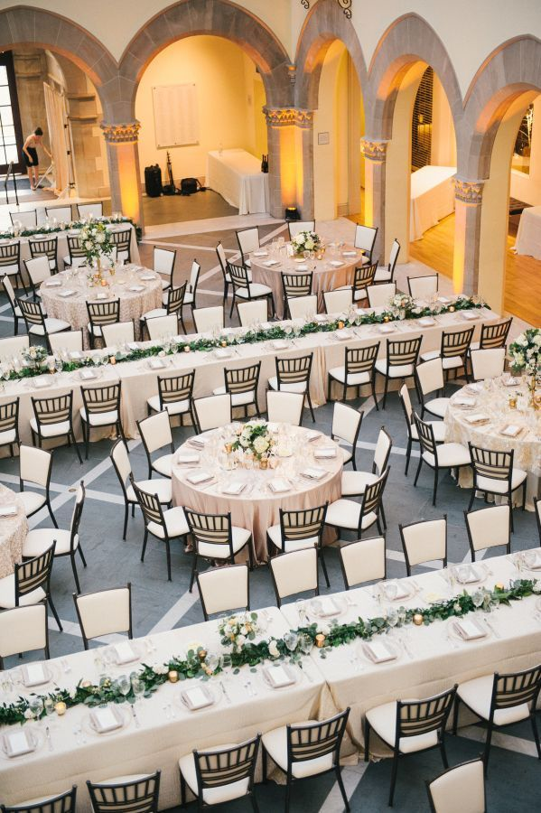 long table setup wedding reception%0A Classic traditional wedding reception in the Chrysler Museum of Art   www stylemepretty