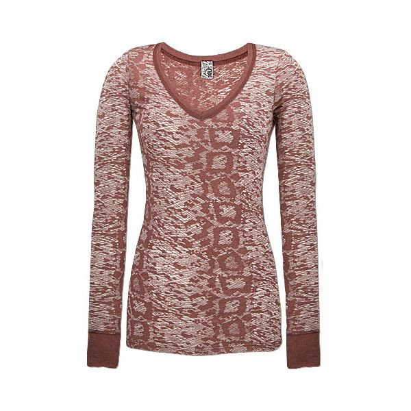 BKE V-Neck Top ❤ liked on Polyvore featuring tops, shirts, shirts/tops, v-neck tops, all-over print shirts, brown v neck shirt, burnout long sleeve shirts and brown long sleeve top