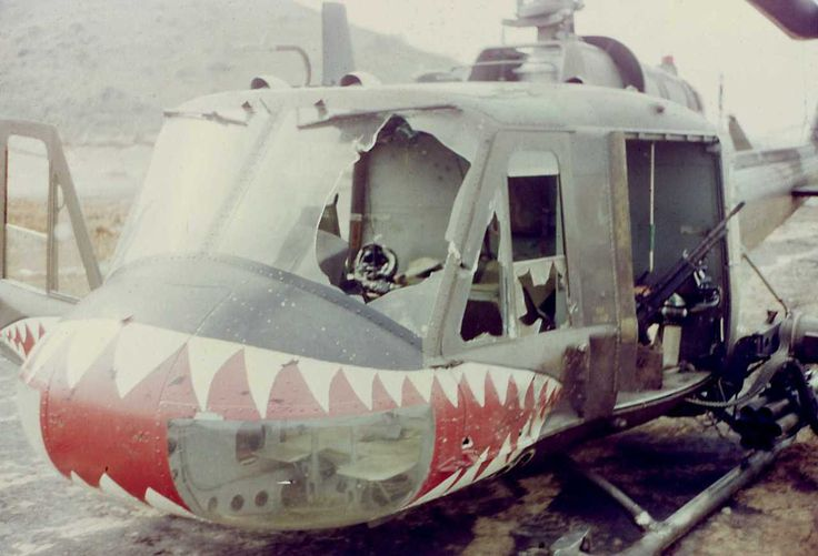 Vietnam War - Shark 432 helicopter hit by a rocket south of Duc Pho on April 28, 1967.