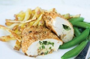 339 cals/3.7g fat per portionIf you love chicken kiev and chips you'll be happy to know that we have the healthy option! With skinless chicken breasts, granary breadcrumbs and low-fat spread, this dish is the perfect healthy family meal which no one can complain about because it comes with homemade chips!