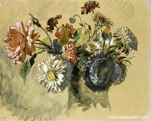 Bouquet of Flowers Painting by Eugene Delacroix