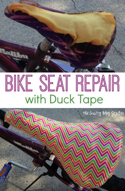 Do an easy bike seat repair with Duck Tape. An easy fix that anyone can do. May your seat isn't even torn? This is a fun way to decorate a bike seat too.