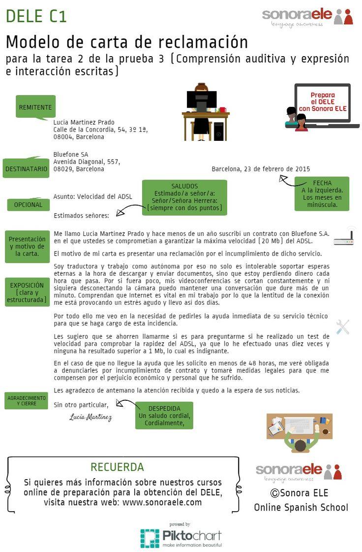 DELE C1: Modelo de carta de reclamación de Sonora ELE para la Prueba 3 del…