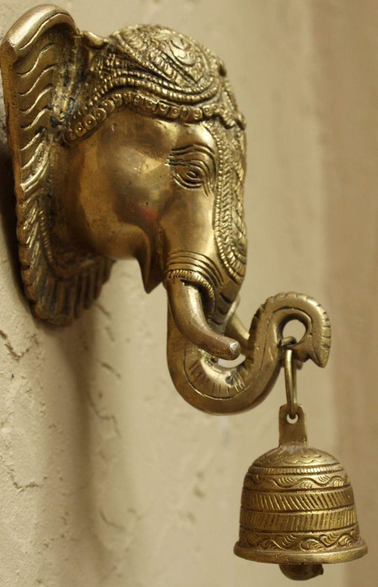 Brass Ganesha Wall Hanging With Bell at the Indigo And Rust store  Ships from the US  Collectivitea marketplace  #brass #elephant #wallart
