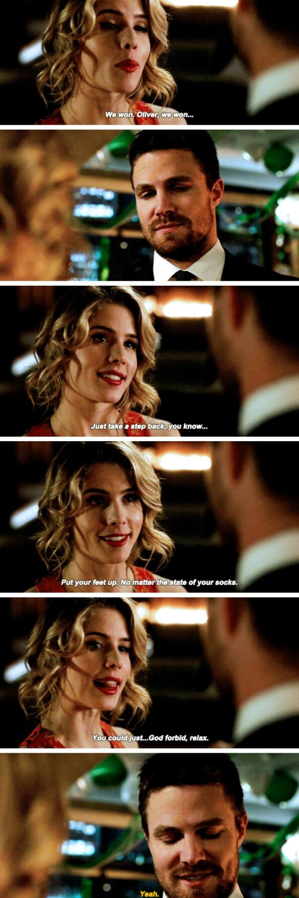 "#Arrow 5x22 ""Missing"" - ""We won, Oliver. You could just... God forbid, relax"" - #FelicitySmoak #OliverQueen"