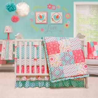 The Mila Nursery Collection features a traditional patchwork design with a combination of beautiful floral and unique graphic prints in a vivid colorway of aqua, white, green, and coral.