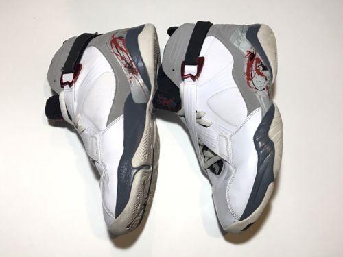 Men-039-s-Nike-Air-Jordan-8-0-White-Black-Retro-Basketball-Shoes-467807-105-Size-9-5