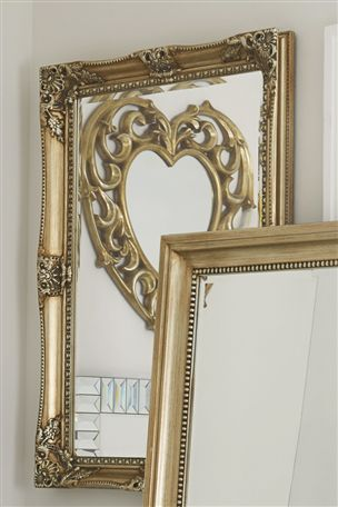 Decorative Over Mantle Champagne Mirror