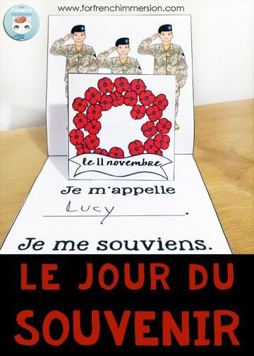 "French Remembrance Day Classroom Activities: FREE pop-up card for ""le jour du Souvenir""!"