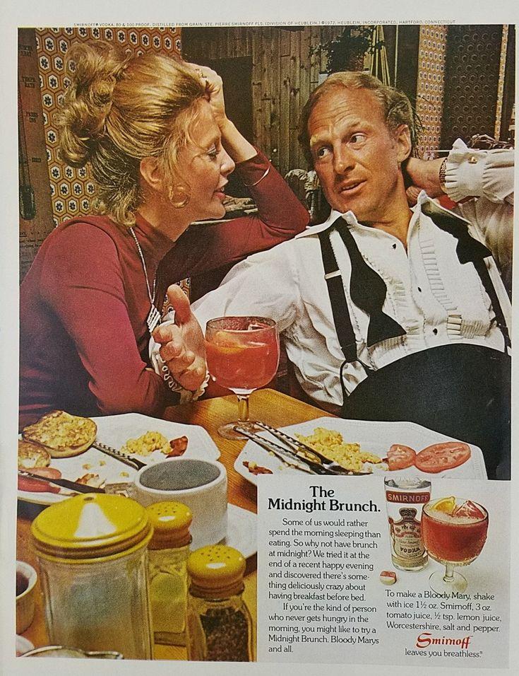 1972 Smirnoff Vodka Vintage Ad - Couple Enjoying Midnight Brunch