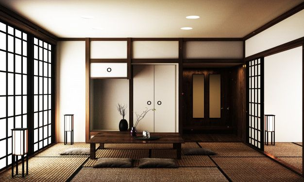 Interior Design Modern Living Room With Table On Tatami Mat Floor Japanese Style Japanese Living Rooms Japanese Interior Design Japanese Living Room Decor