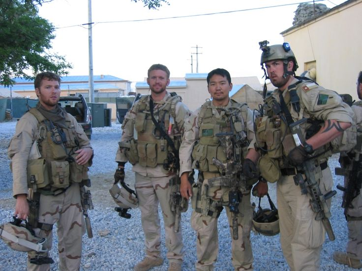 "From L to R: Navy SEALs Shane Patton, Matt ""Axe"" Axelson, James Suh and Marcus Luttrell of Operation Red Wings."