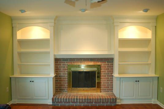 mantle ideas with bookshelve | ... Project - BC 224: Painted Bookcases & Mantel with Accent Lights