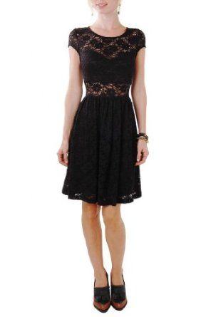 Humble Chic NY Women's Lace Panel Dress - Lace Cut Out Dress Black