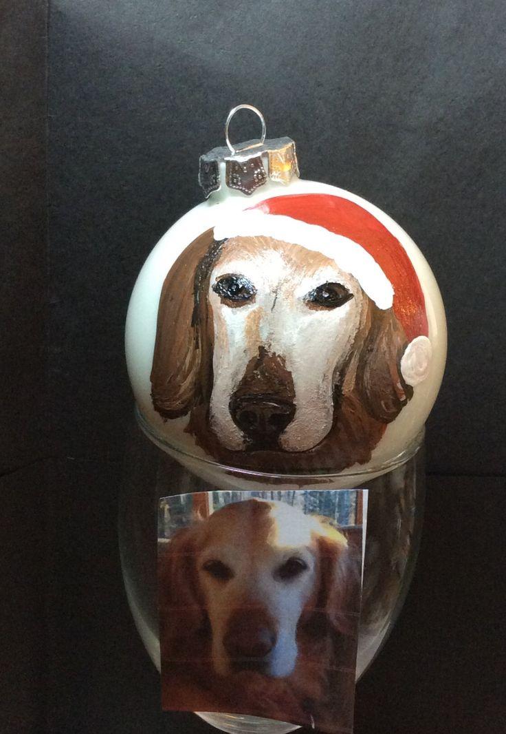 Custom Painted Dog Pet Cat Christmad Bulb by HANDPAINTEDBYCYNDIE