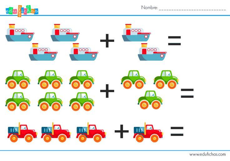Sumas gráficas con dibujos para niños pequeños  http://www.edufichas.com/actividades/matematicas/sumas/sumas-graficas-transporte/  #sumas #matematicas #infantil #educacioninfantil