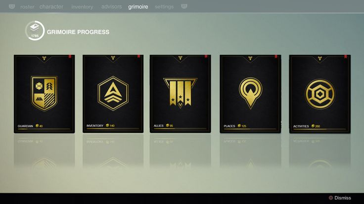 Destiny Achievements / Trophies Screen