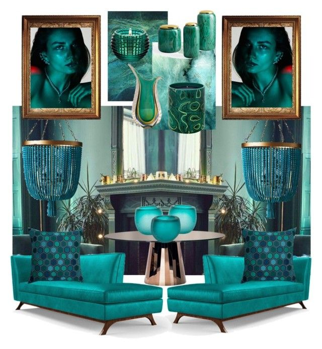 TIMELESS TEAL by myhouse-myideas on Polyvore featuring polyvore interior interiors interior design дом home decor interior decorating Joybird ClassiCon Frontgate Madura Fornasetti Barclay Butera Baccarat