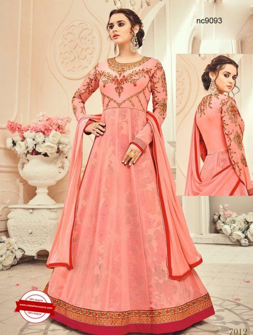Pink Georgette Anarkali Suit | Buy designer salwar suits online at www.natashacouture.com | ❤️ Call / WhatsApp / Viber : +91-9052526627 | Free Shipping in India | COD* | Worldwide Shipping | Authentic Quality Guaranteed ❤️