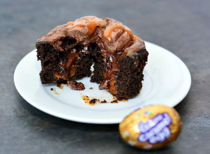 Cadbury Caramel Eggs Cupcakes Recipe - A decadent chocolate caramel cupcake made with Cadbury Caramel Eggs for Easter.