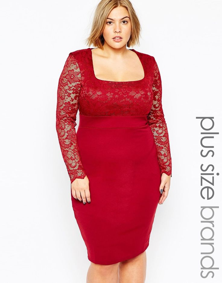 """Plus-size dress by Goddiva Smooth stretch fabric Semi-sheer lace overlay to top Square neckline Fitted waist Scalloped cuffs Zip back closure Slim fit - cut closely to the body Hand wash 92% Polyester, 8% Elastane Our model wears a UK 18/EU 46/US 14 and is 173 cm/5'8"""" tall"""