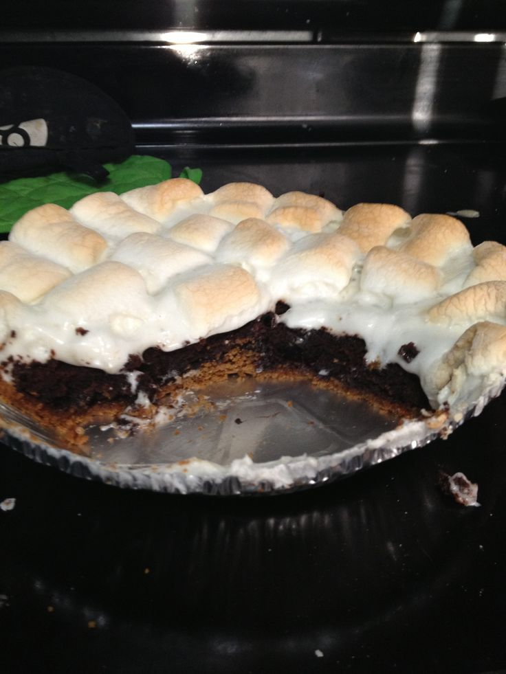 S'more, soda brownie pie. 1 bought gram cracker crust Brownie mix 1 can cherry diet soda Marshmallows  Pour one can of soda in the brownie mix and stir well. Pour into crust and bake until done about 45 min at 350. Once baked put on the marshmallows and re bake for 10 min or until brown. Pull out and enjoy the yummy.