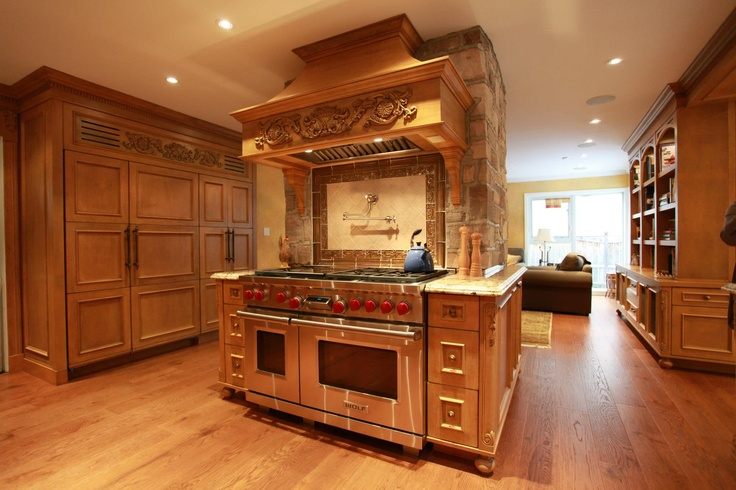 Custom Old European Style Kitchen Cabinetry and Family Room Built-ins Completed in Don Mills, Toronto, Ontario, Canada built by Heritage Finishes