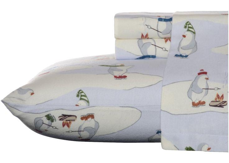 Eddie Bauer Skating Penguins Flannel Sheet Set
