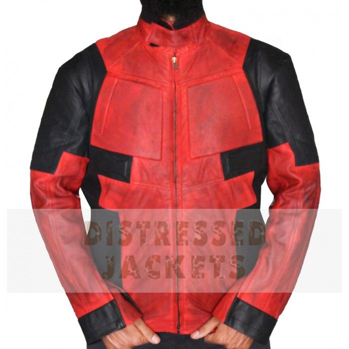 Red Distressed Mens Leather jacket