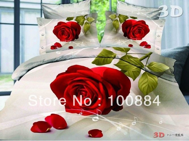 Красная роза простыня, 3D живопись маслом наборы постельных принадлежностей без наполнителя, розовый rose музыка отметил постельное белье для девушки кровать подшивок
