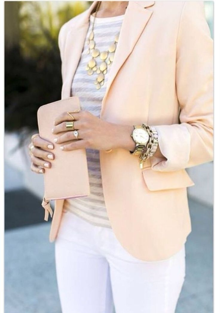 Spring time office attire | pastels, stripes, white and gold |