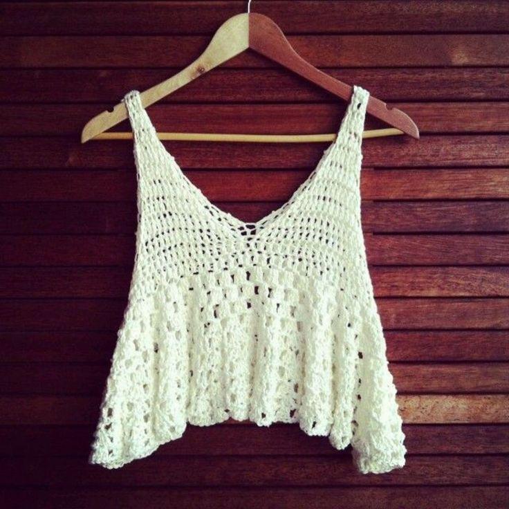 Crochet flounce crop top