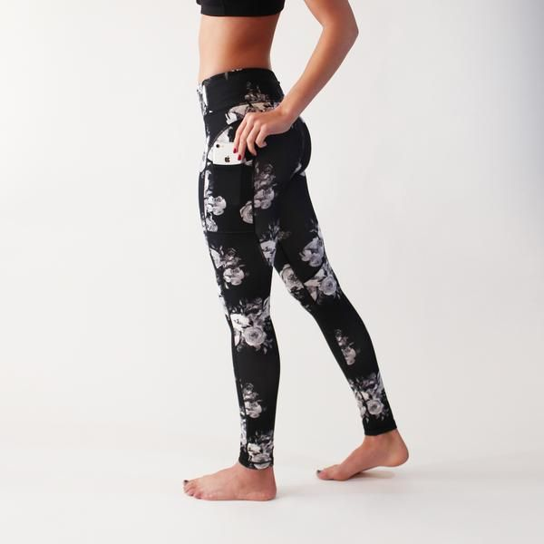 These full length pants with pockets will provide comfort and style in the gym, studio, and beyond. (Rosa Blanc print is black, gray, and white.) Fit and Product Details  Tight leg, sits 2 fingers below belly button Pockets on the sides that fit most large phones Back zipper pocket for smaller valuables  Breathable crotch gusset Tagless  Extra Small: 0-2Small: 4-6Medium: 8-10Large: 12-14Extra Large: 16-18  Fabric and Care  Nylon/Spandex blend Lightweight, breathable, squat proof (never…