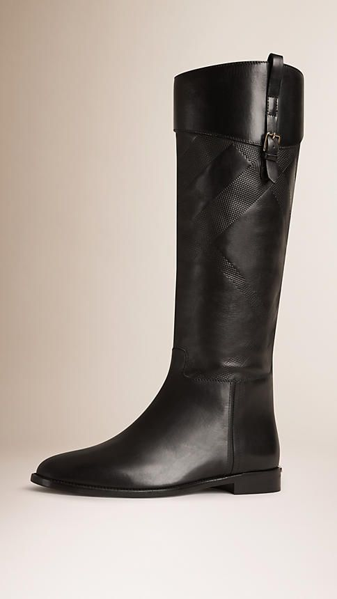 Burberry Black Check Detail Leather Riding Boots 9.5
