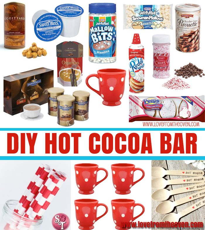 How To Set Up A Hot Chocolate Station by  Love From The Oven - fun ideas and lots of inspiration in this post! LOVE! #hotcocoabar #hotchocolate #holidayfun: