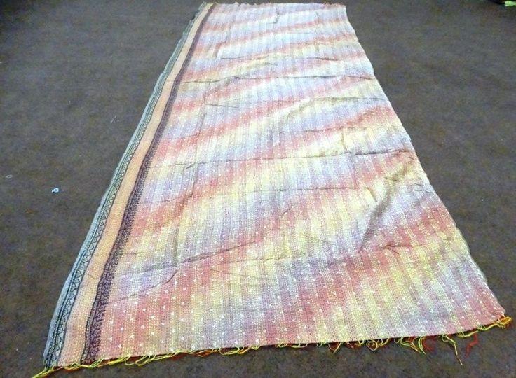 Handmade Kantha Work Printed Silk Scarf Women Bandana Reversible Stole SLK20 #Handmade #Scarf