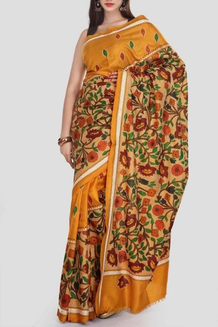 Satin Sheen & Gold Hand Brush Painted Kantha Silk Saree
