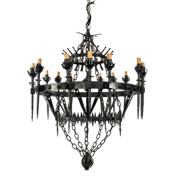 - Vintage, 20th Century piece - Rewired UL - Large, Wrought Iron chandelier - Holds 15 candles - Wired for electric - Dimensions: Available upon request - weight: 55 lbs