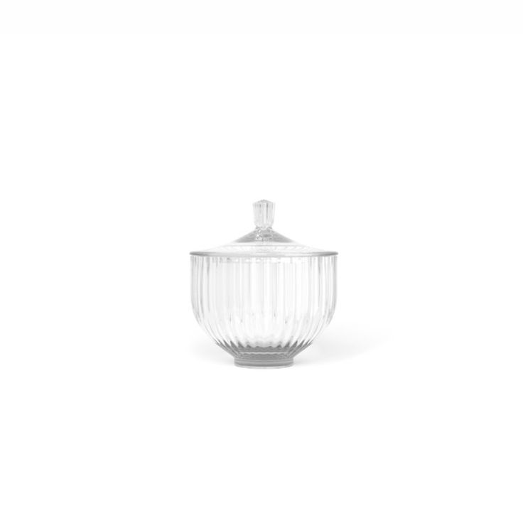 Lyngby Porcelæn bonbonniere glas 10 cm i gennemsigtig eller røggråt