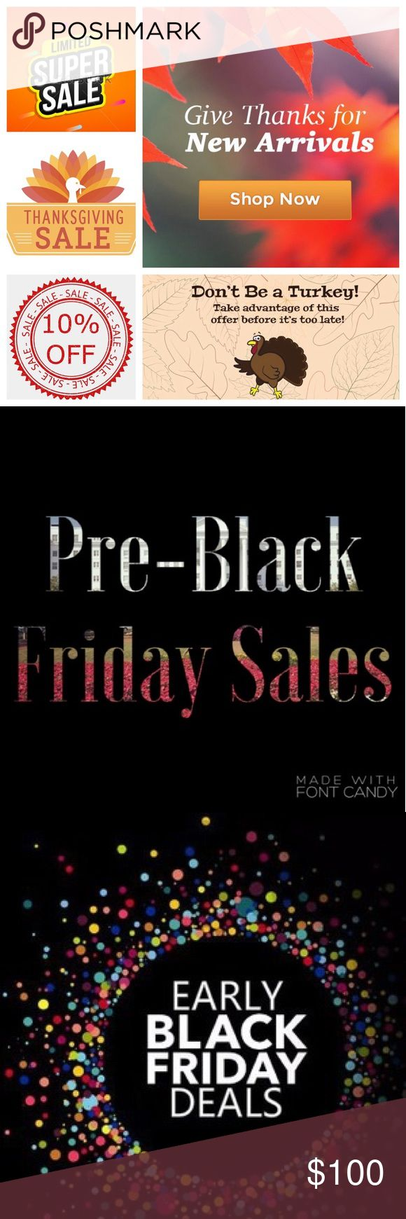 "All ""NWT"" on Sale! Pre-Black Friday Sale! Take 10% Off ALL NEW WITH TAG ""NWT"" Items EXCEPT for 🎉FINAL PRICE🎉 Items. This Sale IS NOT COMBINABLE with Any Other Sales! Just Like Your Item and Offer 10% Less And I Will Except! Get Your Christmas Shopping Done Early!! Look For My Other Sales, Too! Buy 2-$5 Items, Get the 3rd One Free! Other"