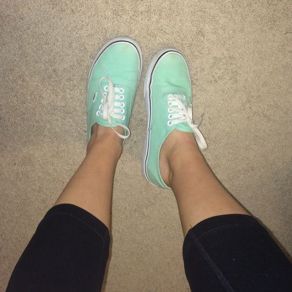 Mint Green Vans Bought these a few years ago on the Vans website. Too small for me so I'm selling! Vans Shoes Sneakers