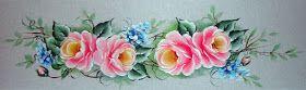 Pintura em Tecido Rosas Barrado