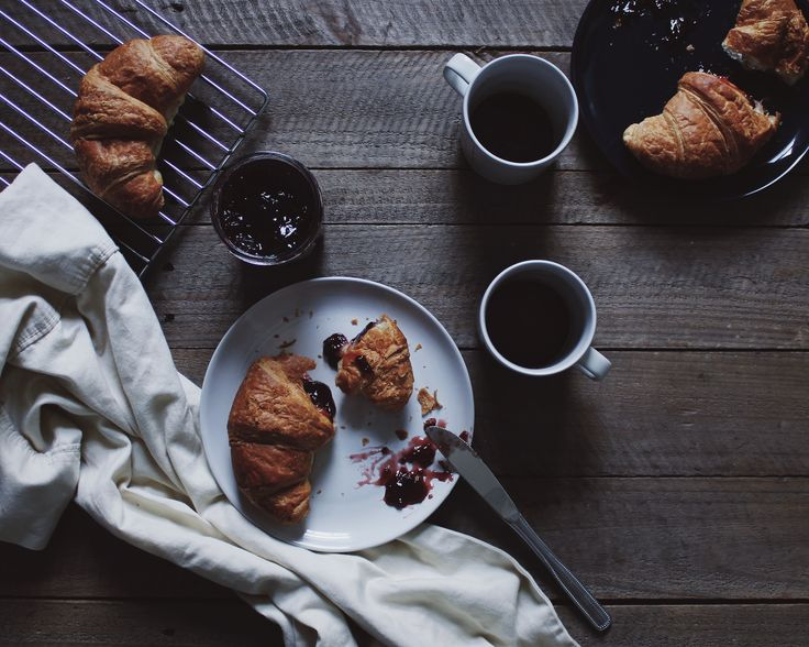 Fresh jam croissants served on Barber and Osgerby's Olio collection by Royal Doulton